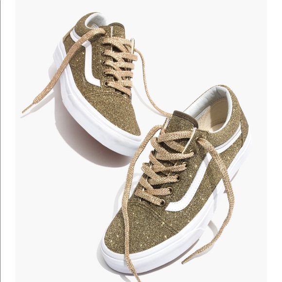 eba76a625e Vans Old Skool Lace-Up Sneakers -Gold Glitter 7.0.  M 5c16bf169fe4869965968806